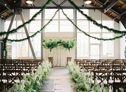 greenery garlands, aisle decor and ceremony spot decor