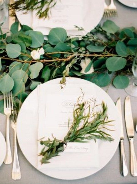 greenery table garland and decor for every place setting