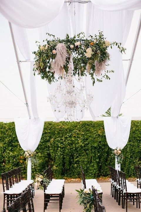 greenery walls for the venue, airy curtains and flowers