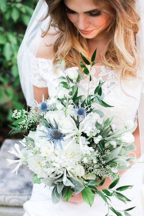 greenery, white flowers and thistle wedding bouquet