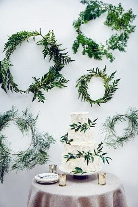 greenery wreaths for a dessert table backdrop