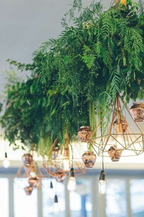hanging greenery chandeliers with geometric lamps and bulbs
