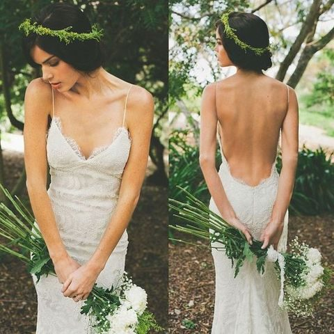 intricate lace sheath wedding dress with spaghetti straps