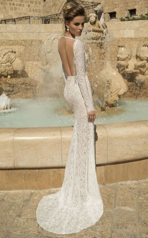 lace sheath wedding dress with long sleeves