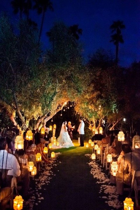 lanterns along the aisle and hanging lights