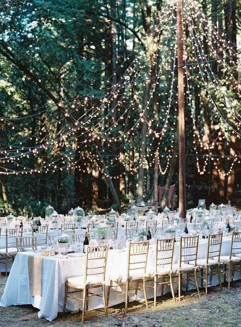 light strings hanging as a dome over the reception