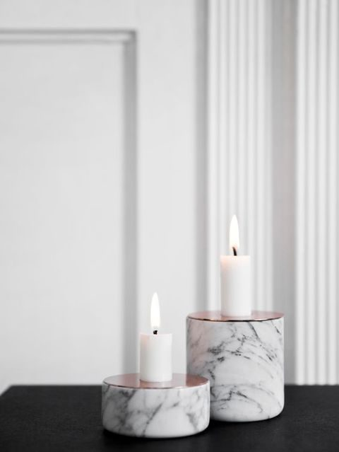 marble and copper candle holders can be DIYed
