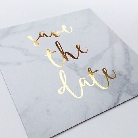 marble and gold wedding save the dates