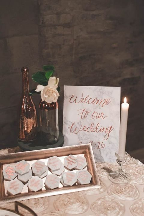 marble and rose gold wedding signage