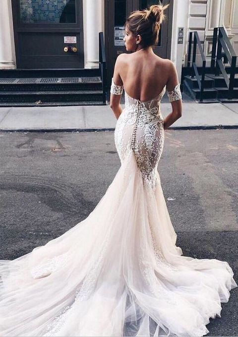 mermaid lace off the shoulder wedding dress with a tulle train