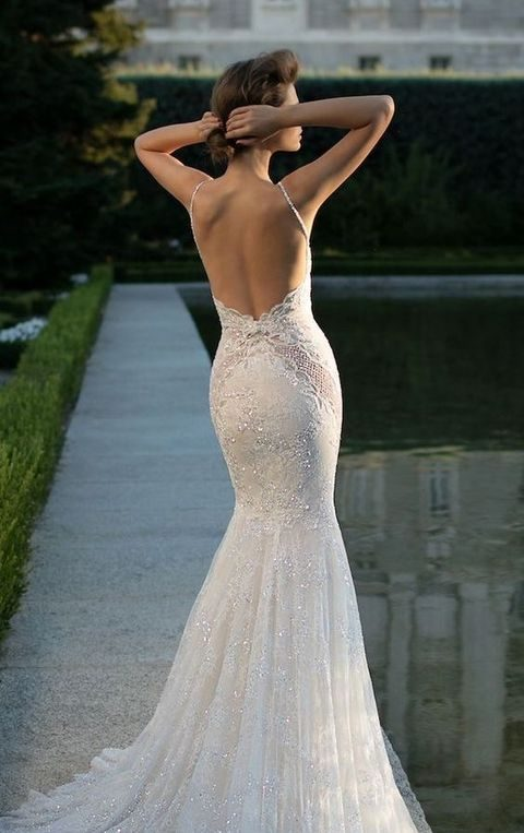 mermaid lace rhinestone wedding dress with a train