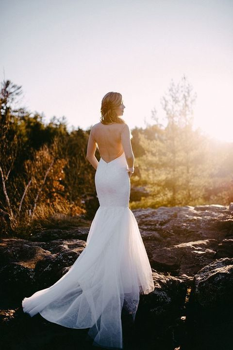 mermaid wedding dress with a tulle tail