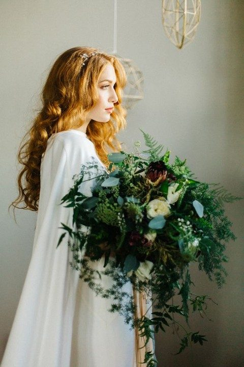 messy and textural oversized greenery bouquet