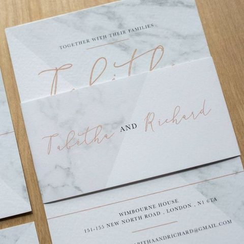 modern marble and copper calligraphy invitations