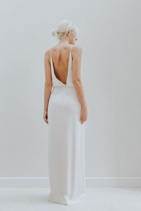 modern plain wedding dress with spaghetti straps