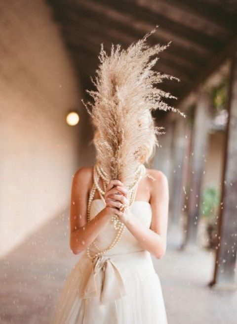 mono bridal bouquet of pampas grass