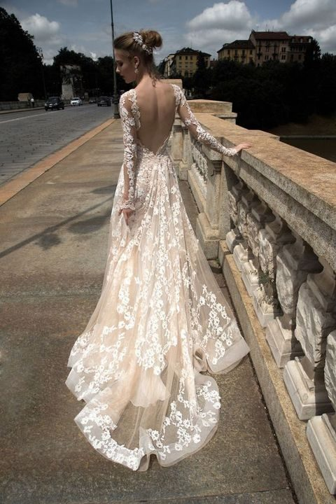 Nude Wedding Dress With Long Sleeves And White Lace Appliques