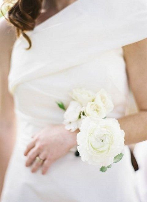 oversized neutral wrist corsage for the mom or grandmother of the bride