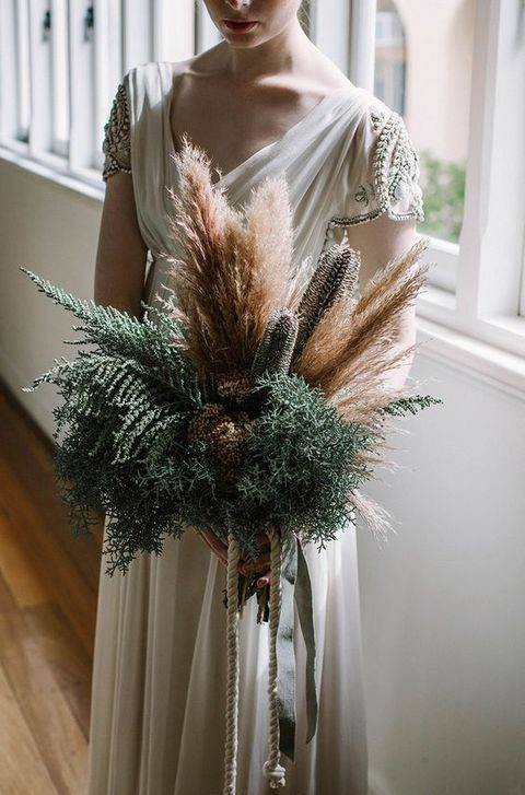 pampas and fern wedding bouquet for a desert bride