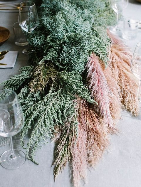 pampas and foliage wedding table runner