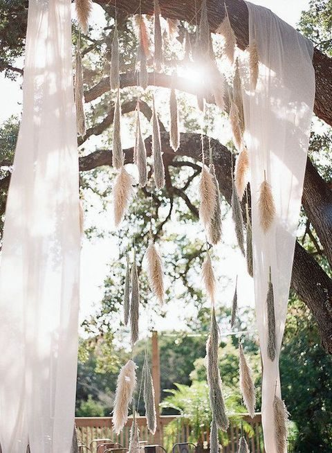 pampas grass and airy fabric for wedding arch decor