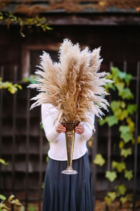 pampas grass in an antique metal vase