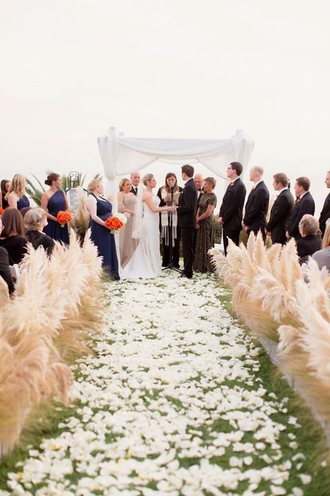 pampas grass is ideal for lining up the aisle