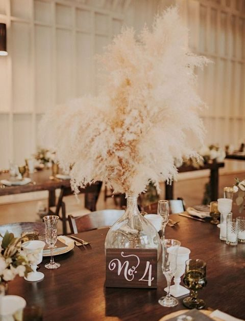 pampas in a mercury glass vase for a centerpiece