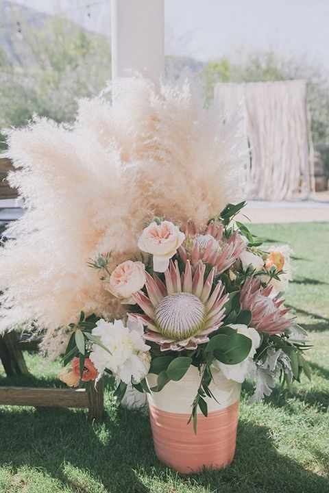 pampas, protea and blush flowers for the aisle decor