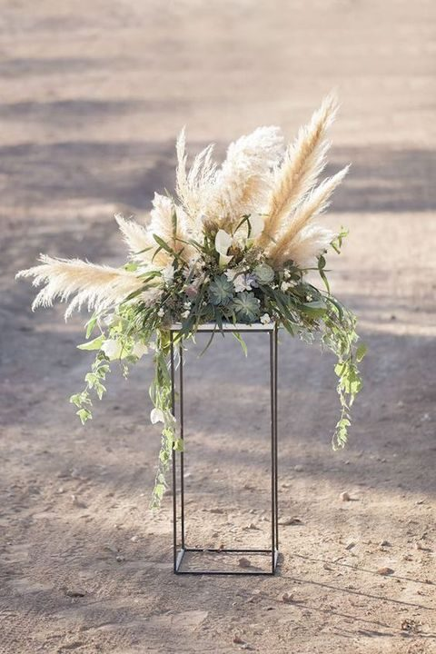 pampas succulents wedding decor