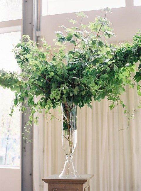 sheer glass vase with greenery branches as decor or a table centerpiece