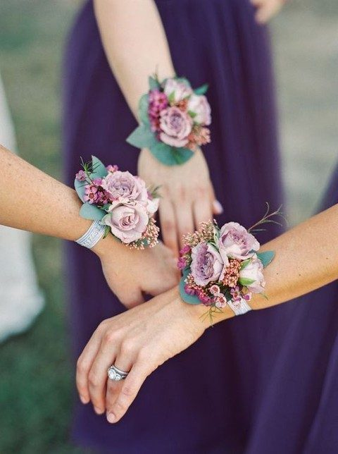 sweet dusty pink rose wrist corsages