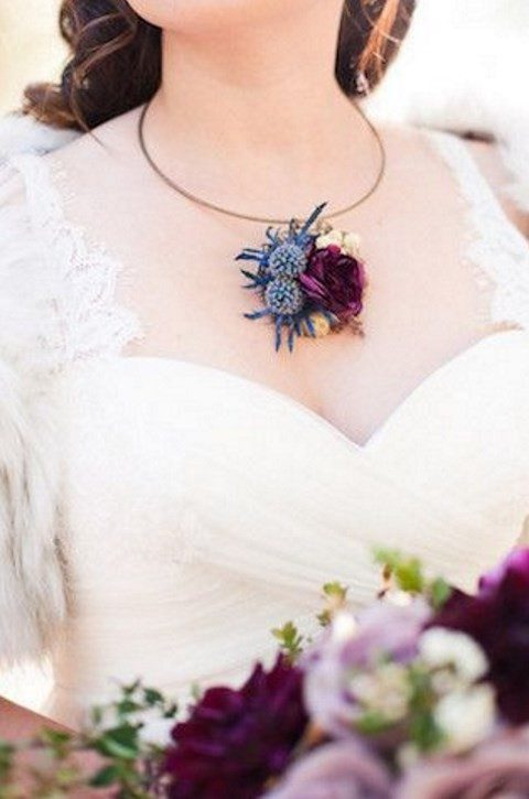 thistle necklace that matches the bouquet