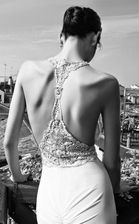 a beaded lace racerback and a plain skirt