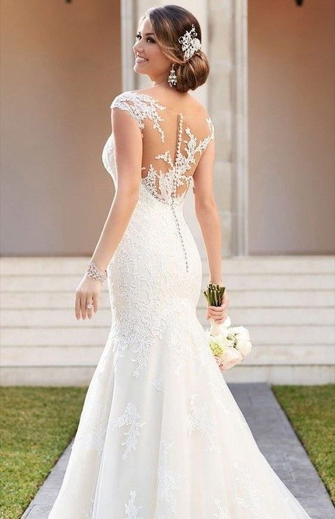A Fit And Flare Wedding Dress With The Dramatic Illusion Back Zips Up Ease Under Gorgeous Fabric Covered Ons