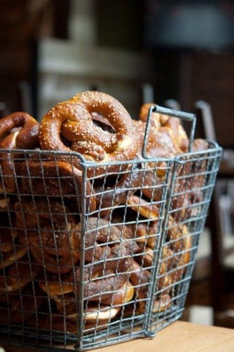 a wire basket for displaying pretzels at a rustic wedding