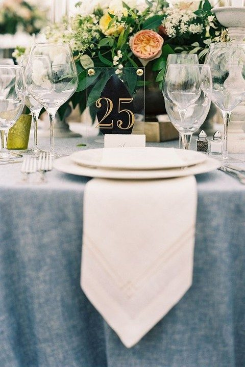 acrylic table number with gold nails and numbers