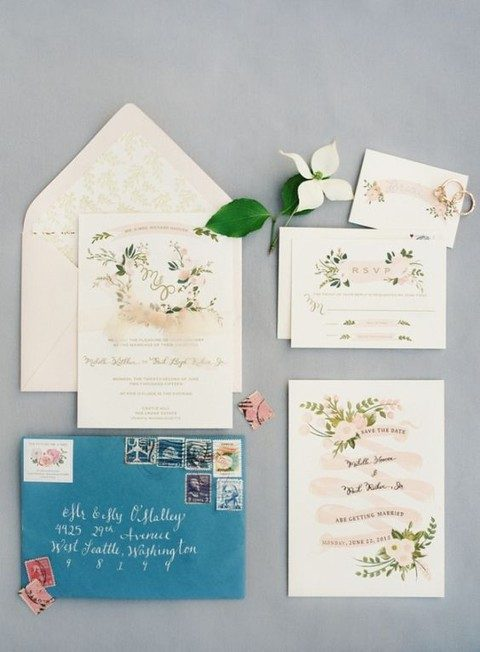 blue and coral floral print wedding invitations