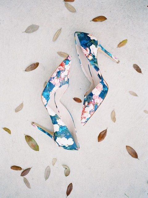blue and pink floral silk pumps