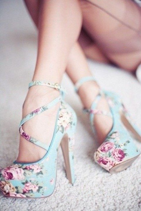 blue platform lace up heels with a pink floral print