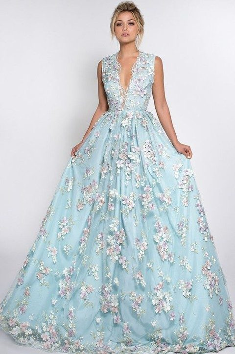 blue plunging neckline wedding dress with pink flower appliques