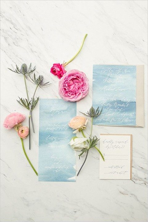 blue watercolor invitation idea