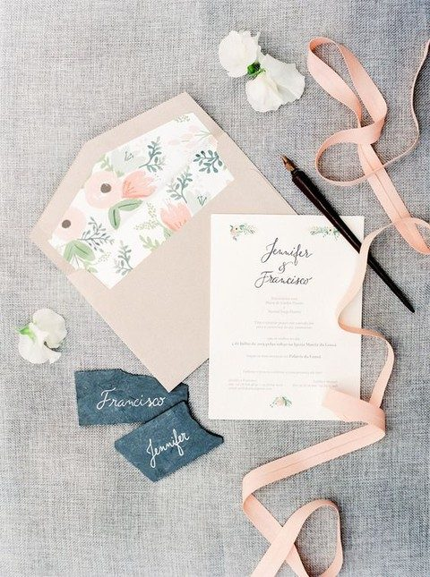 blush and flower wedding stationary