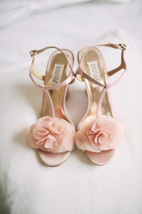 blush ankle strap shoes with fabric flowers