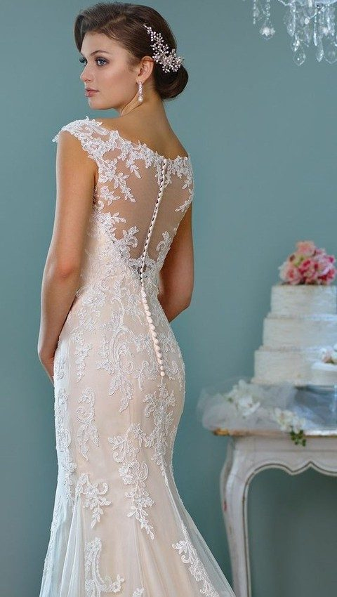 Blush Colored Tulle And Lace Wedding Dress With Cap Sleeves Illusion Back