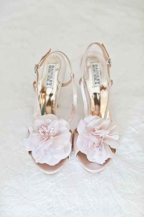 blush fabric blooms on heeled sandals