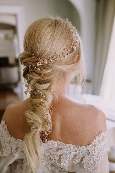 blush pearl and gold hair vine on a twisted braid