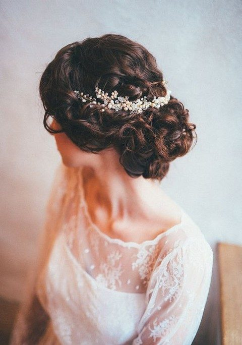 blush pearls, sheer beads on a halo hair vine
