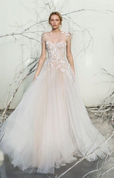blush strapless floral applique tulle ballgown wedding dress