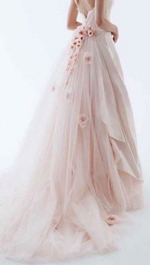 blush wedding dress with large pink flower appliques